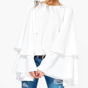 Boohoo Exaggerated Tiered Sleeve V Back White Top